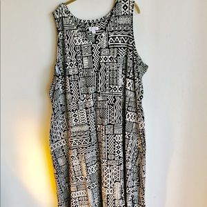 Denim and Co Black White African Print Dress Sz 3X